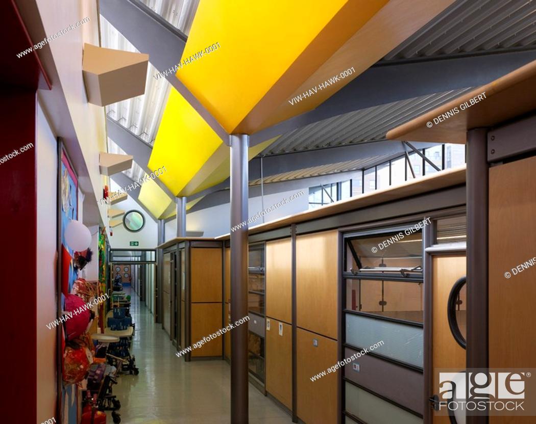 stephen hawking school london haverstock associates hallway yellow