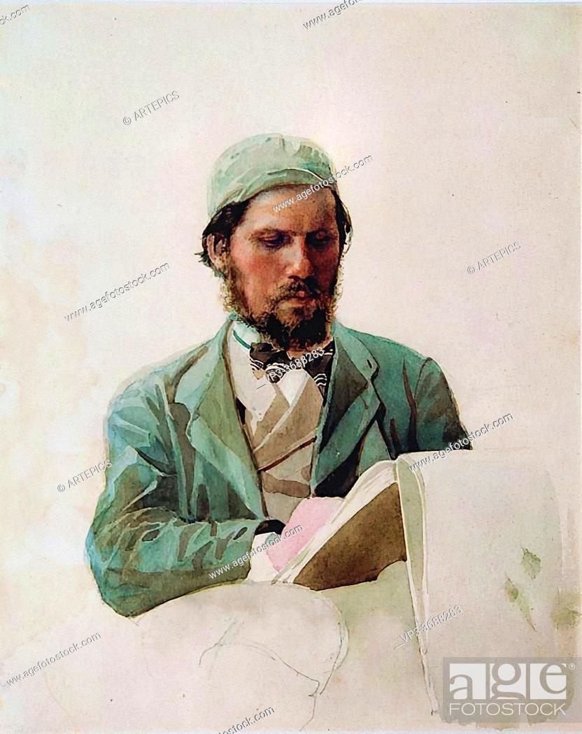 Imagen: Yaroshenko Nikolai - Portrait of the Painter Ivan Kramskoy - Russian School - 19th and Early 20th Century.