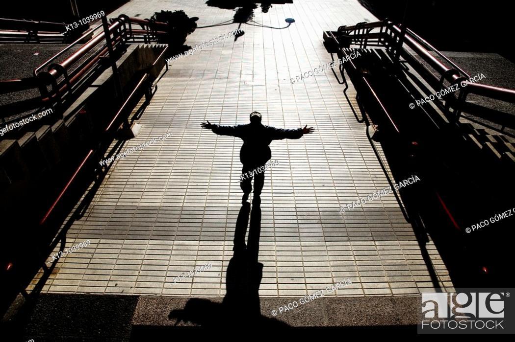 Stock Photo: Mendigo en el centro financiero AZCA  Madrid  España.