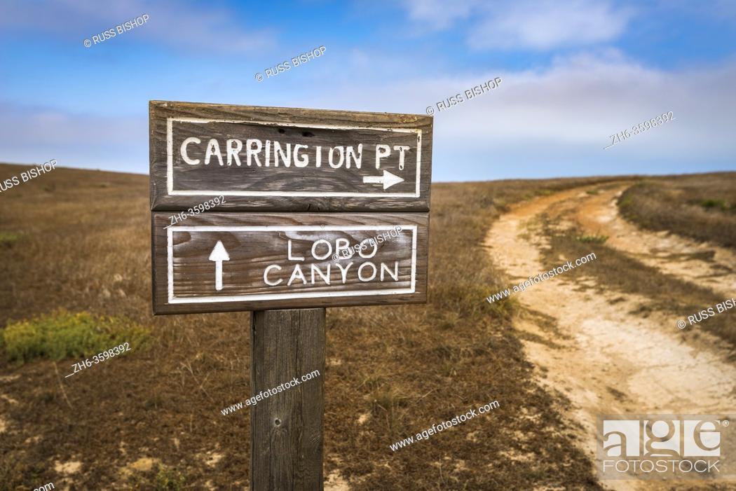Stock Photo: Trail sign to Lobo Canyon and Carrington Point, Santa Rosa Island, Channel Islands National Park, California USA.