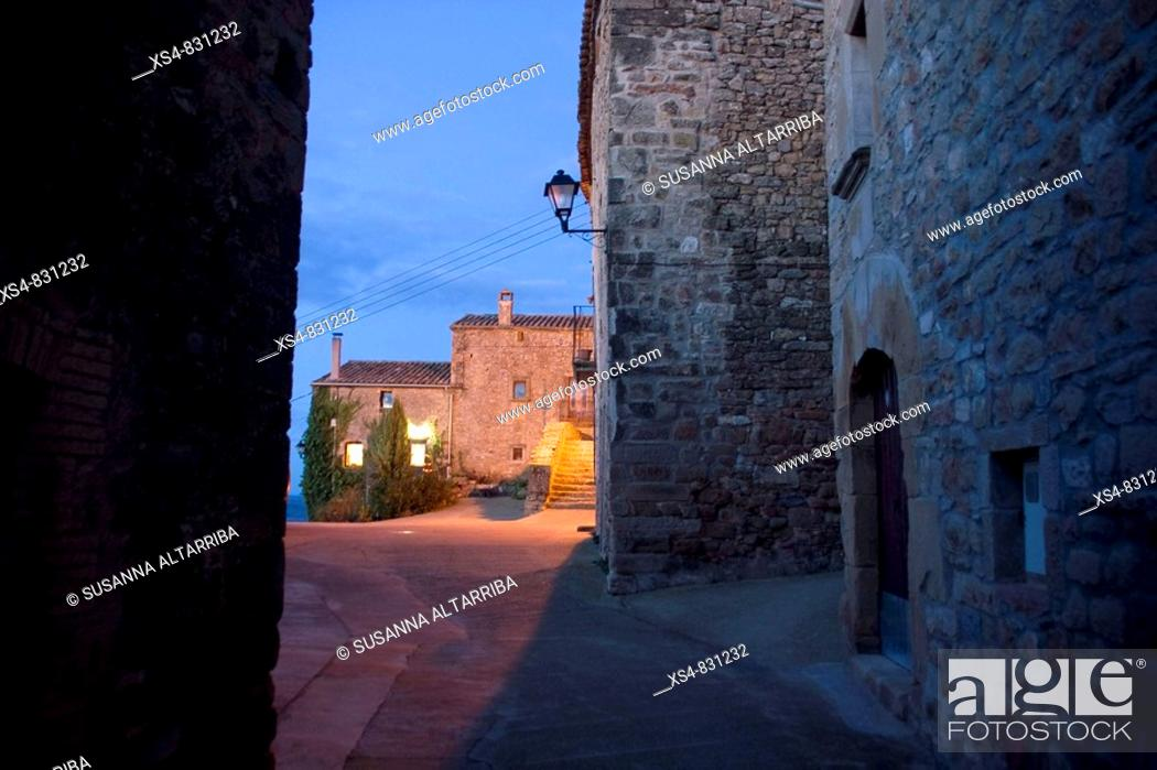 Stock Photo: To dawn in small and old village Pinós, Solsonès, Lleida, Catalonia, Spain, Europe.
