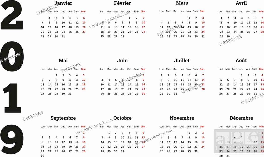 Stock Vector: 2019 year simple calendar on french language, isolated on white.