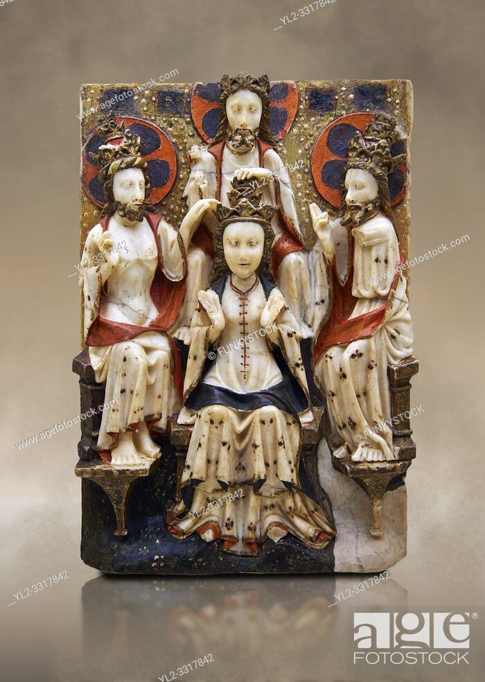 Stock Photo: Gothic marble relief sculpture of the Coronation of the Virgin Mary made in London or York, 1420-1460. National Museum of Catalan Art, Barcelona, Spain.