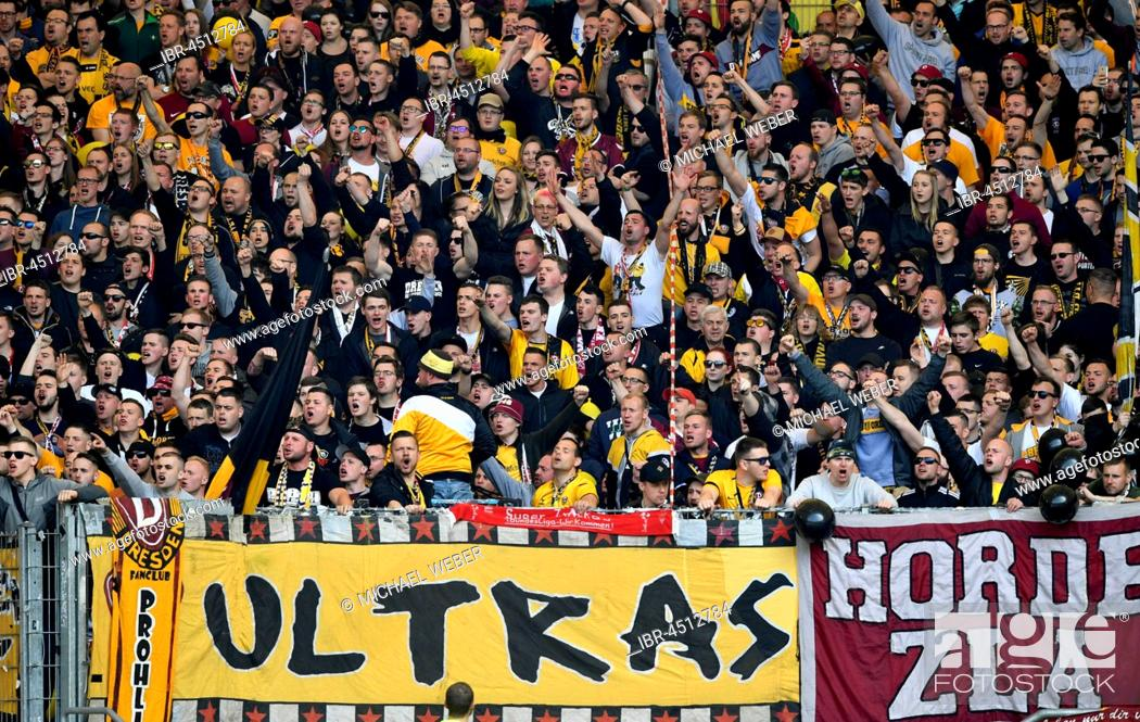 detailed look 3fbdb 231a0 Public gallery at soccer match, Ultras, fan section Dynamo ...