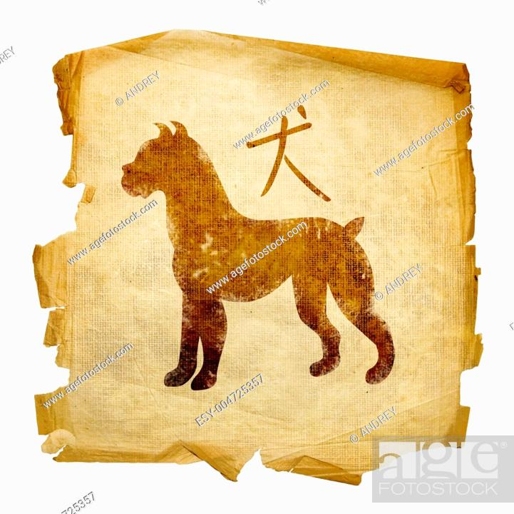Stock Photo: Dog Zodiac icon, isolated on white background.
