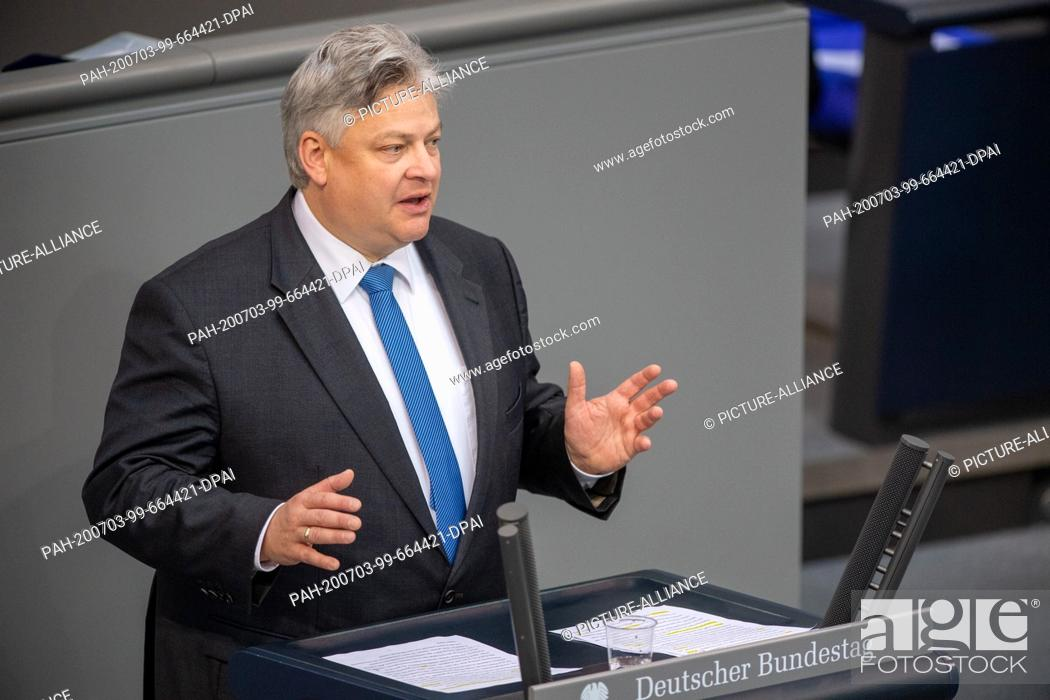 Stock Photo: 03 July 2020, Berlin: Thomas Seitz (AfD) speaks in the plenary session of the German Bundestag. The main topics of the 171st session of the 19th legislative.