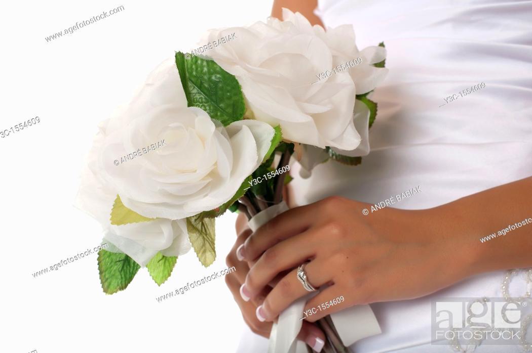 Stock Photo: Hispanic bride with bridal flower bouquet.