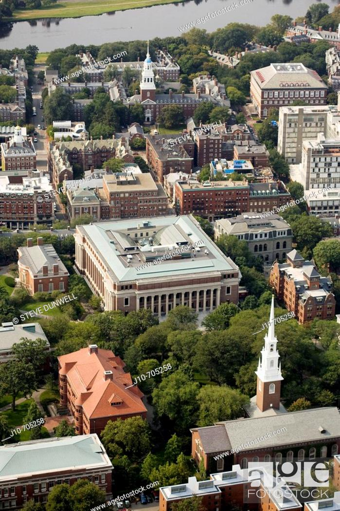 Stock Photo: Harvard University aerial view. View over Harvard Yard and Widener Library to Lowell House and Charles River. Memorial Church bottom center.