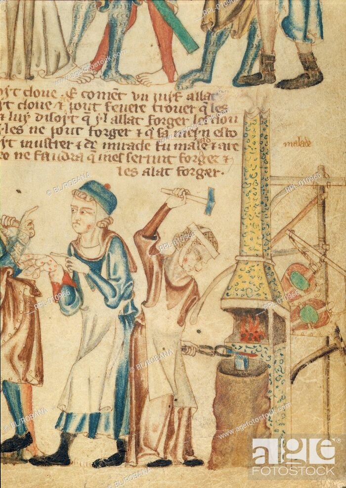Imagen: Blacksmith's wife forging nails, Detail Bottom RH of folio.The blacksmith, who alleges he cannot make the nails for the Cross as his hands are bad.