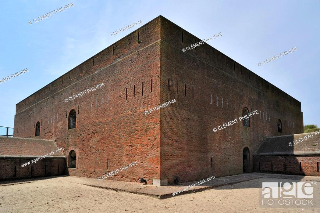Stock Photo: The pentagonal Fort Napoleon with caponiers and dry ditch in the dunes at Ostend, Belgium.