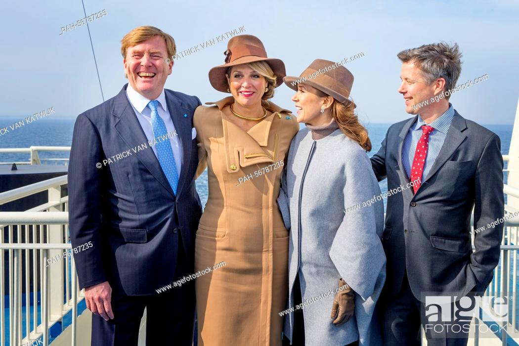 Stock Photo: King Willem-Alexander (L) and Queen Maxima (2ndL) of The Netherlands and Crown Prince Frederik (R) and Crown Princess Mary (back) of Denmark visit Samso Island.