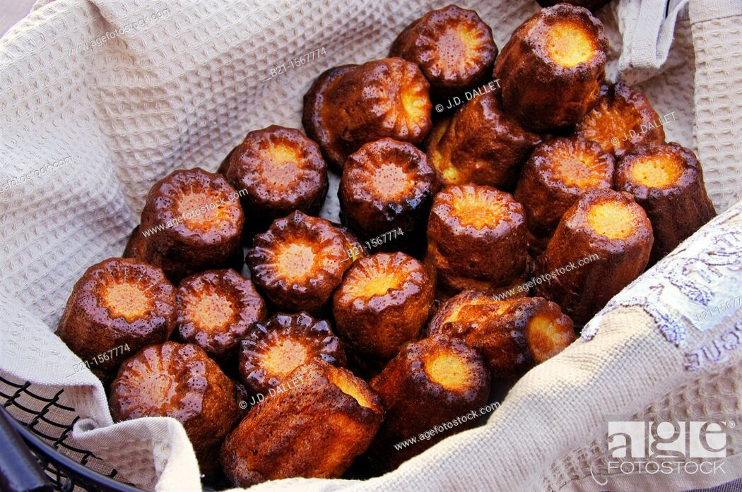 Stock Photo: Food: the famed 'canelets' (canelés) cakes from Bordeaux, Gironde, Aquitaine, France.