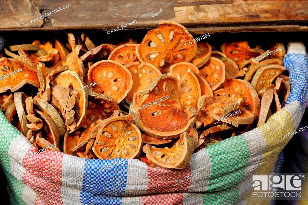 Stock Photo: Dried bale fruit golden apple for sale in Klongtoei market , Bangkok , Thailand.