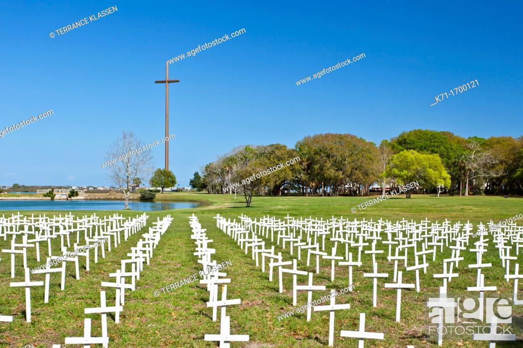 Stock Photo: Small crosses at the Cemetery of the Innocent in St  Augustine, Florida, USA, America.