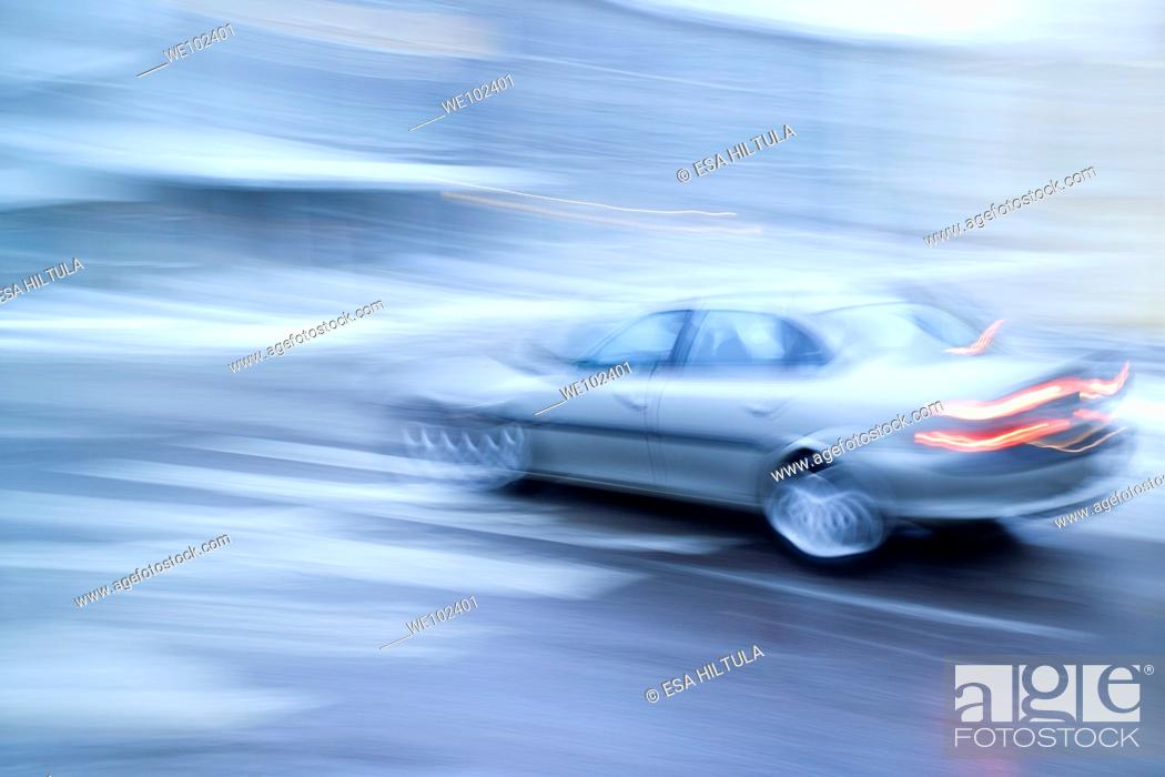 Stock Photo: moving car.