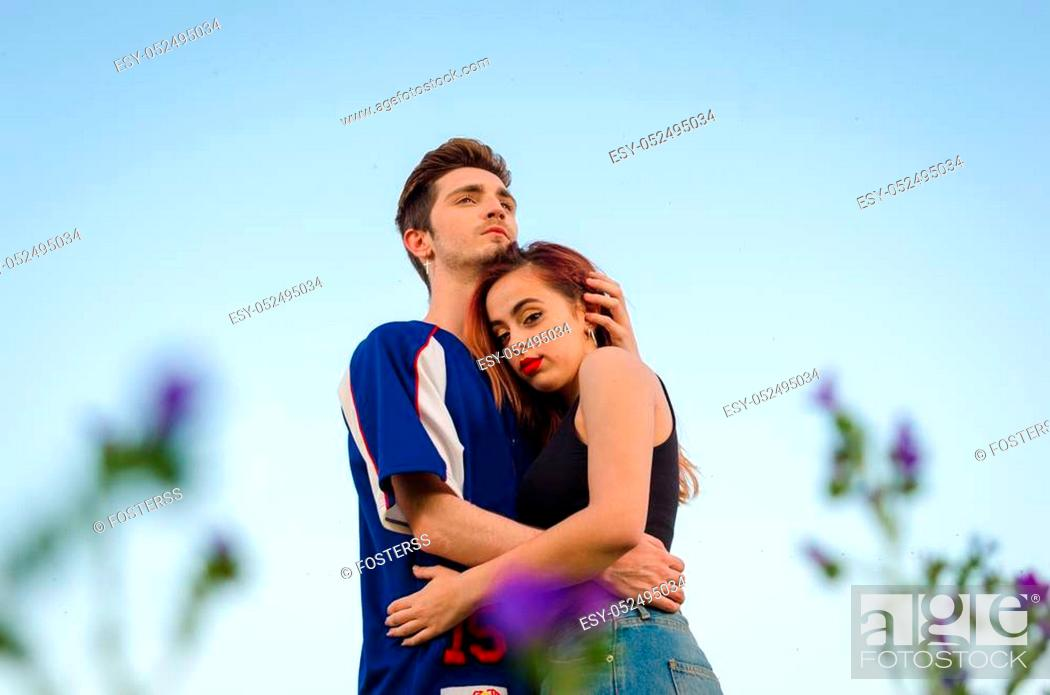 Stock Photo: Beautiful young couple in love hugging on outdoor.