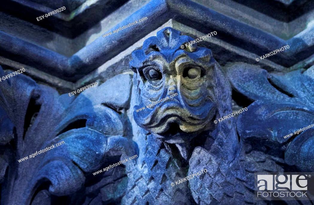 Stock Photo: UK, Scotland, Lothian, Edinburgh, Twilight view of the masonry of the St Giles' Cathedral.