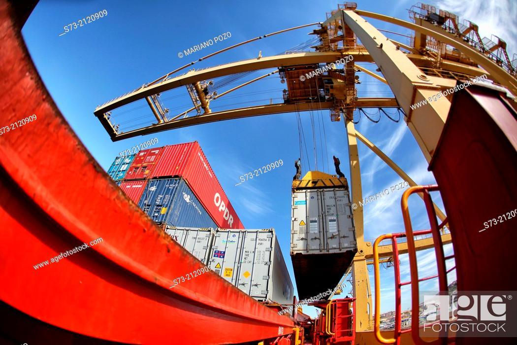 Stock Photo: Loading reefers, Port of Cartagena, Murcia Region, Spain.