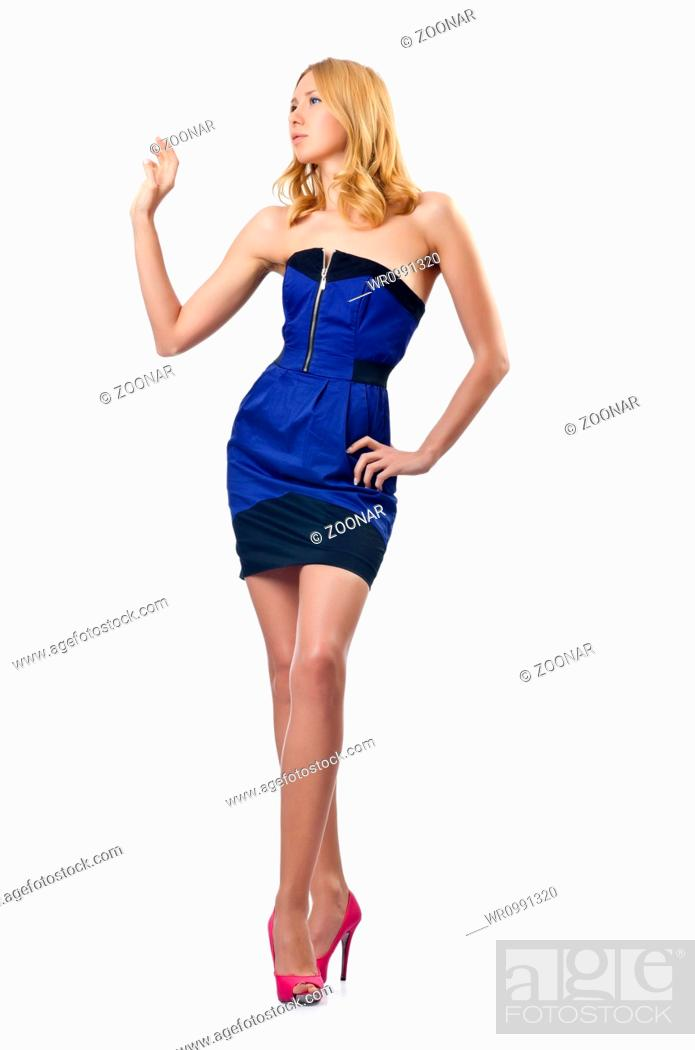Stock Photo: Attractive woman on white background.