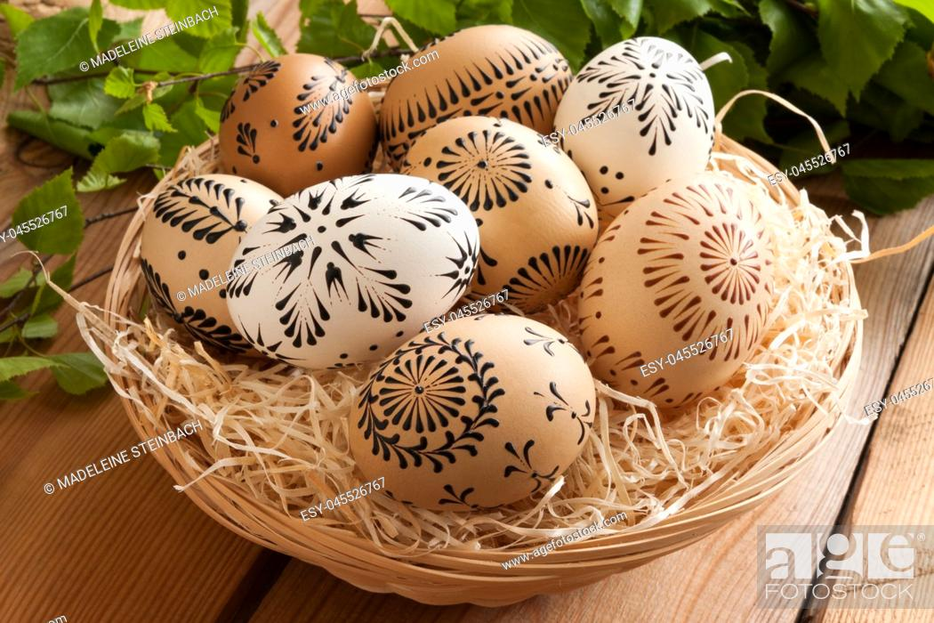 Stock Photo: Easter eggs painted with wax - technique typical for certain parts of the Czech Republic.