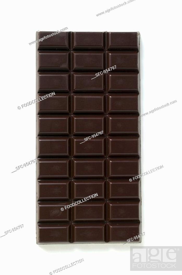 Stock Photo: A bar of dark chocolate.