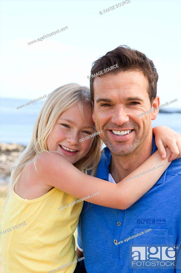 Stock Photo: Father and daughter at the coast.