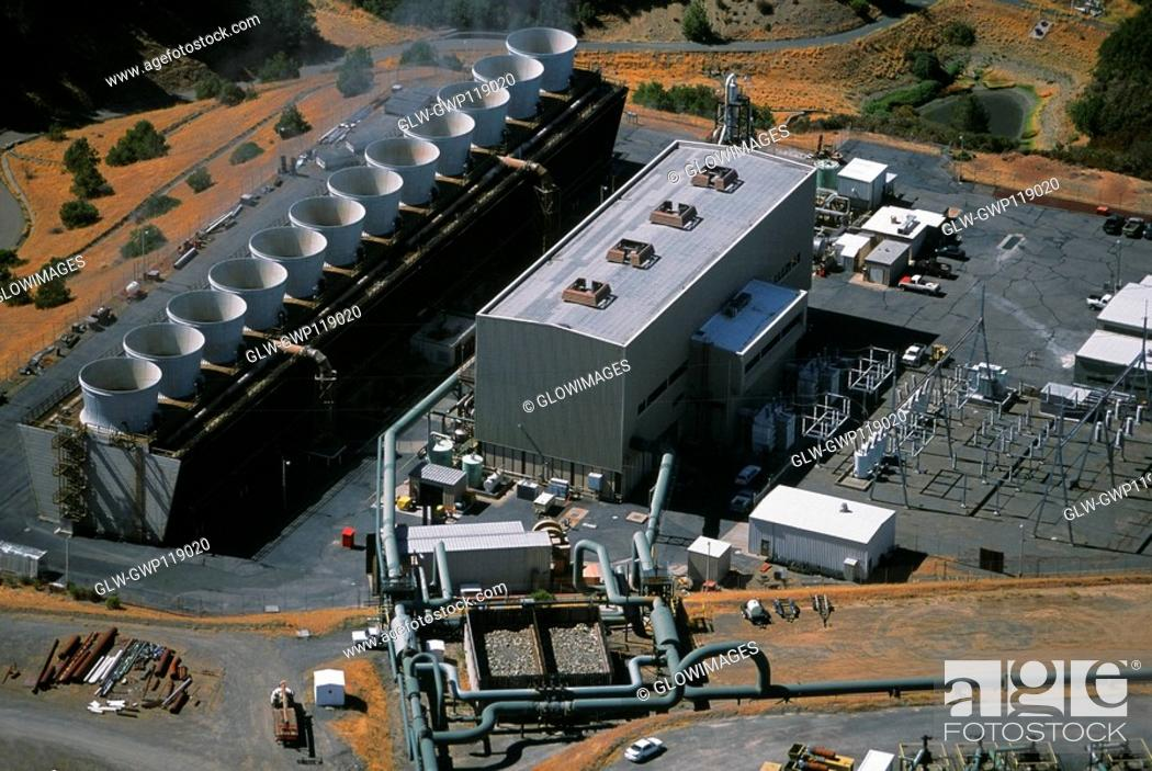 Stock Photo: Geothermal power plant, The Geysers, California.