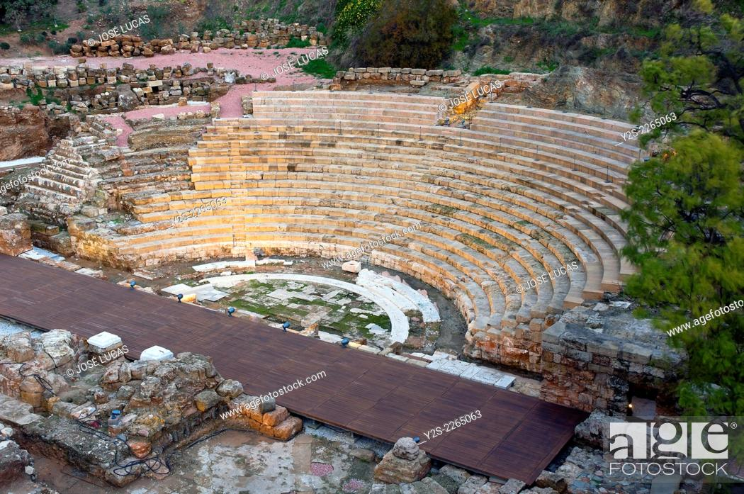 Stock Photo: Roman theater - first century BC, Malaga, Region of Andalusia, Spain, Europe.