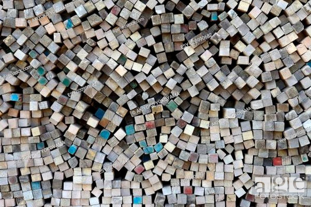 Stock Photo: Close up of stacked wood boards.
