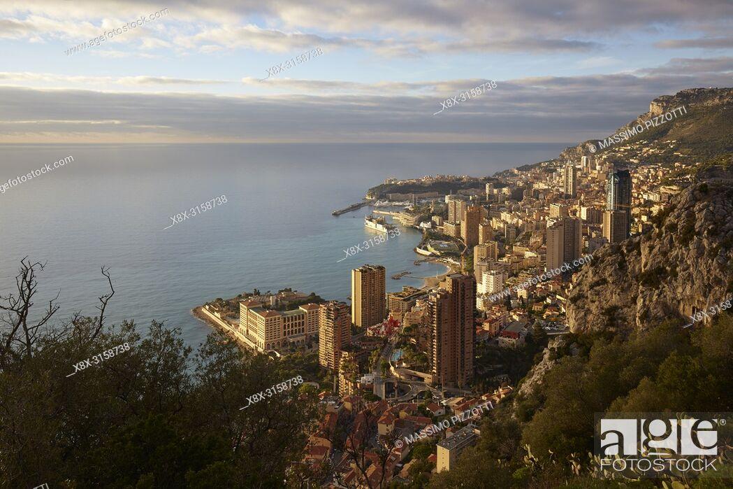 Stock Photo: Aerial view of Montecarlo, Principality of Monaco.