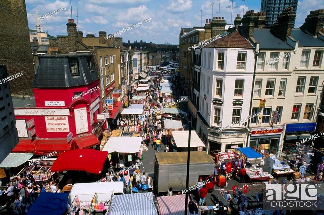 Stock Photo: England - London - Whitechapel district - Petitcoat Lane Market.