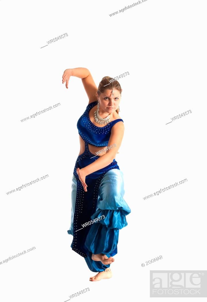 Stock Photo: Woman dance in traditional arabia costume.