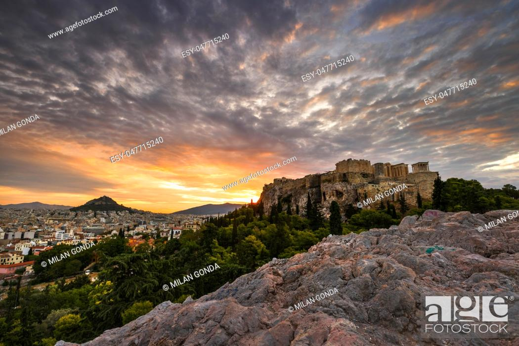 Stock Photo: Acropolis as seen from Areopagus hill early in the morning. .