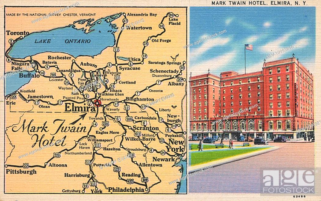 Map Of New York State Usa.Mark Twain Hotel And Map Elmira New York State Usa Stock Photo