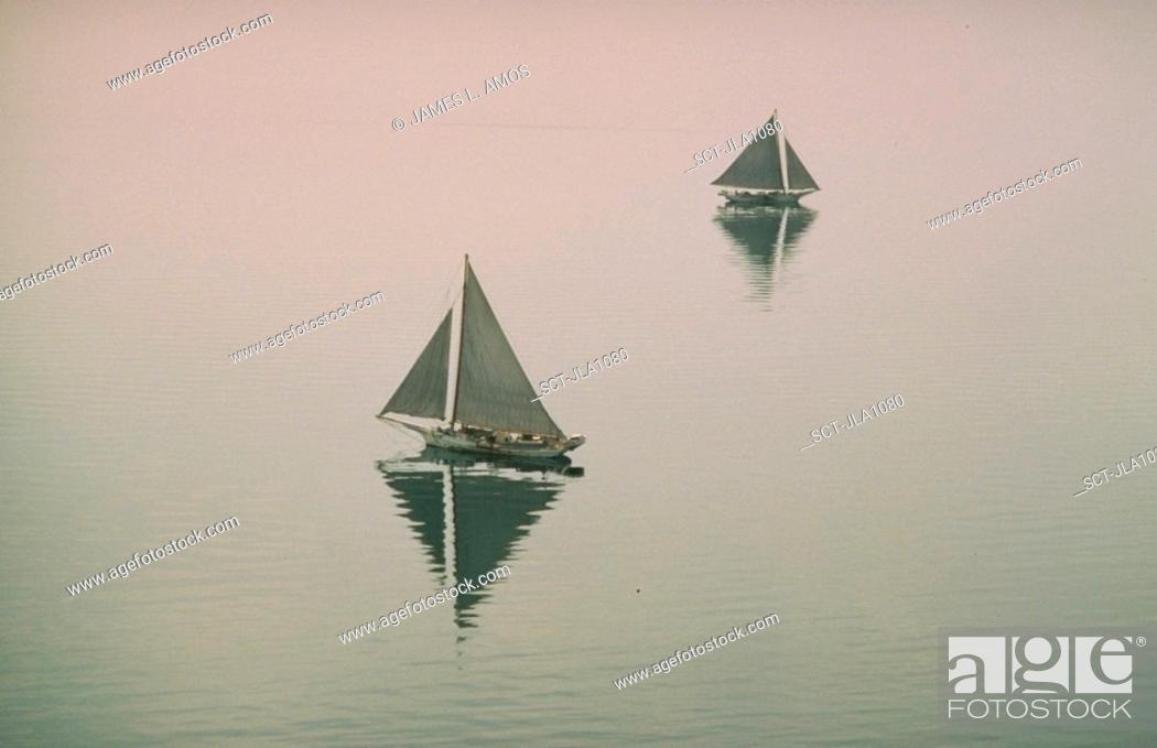 Stock Photo: Sailing oyster boats, Chesapeake Bay.