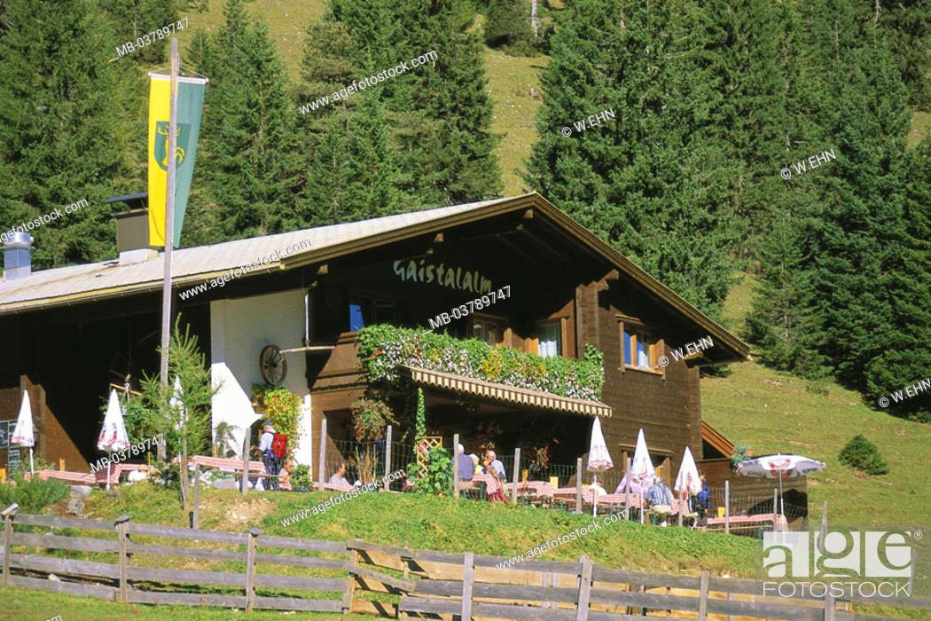 Stock Photo: Austria, Tyrol, Leutasch,  Weather stone mountains, Gaistalalm, summer  Mountains, mountain hut, cottage, mountain restaurant, Alm, restaurant, hikers, tourists.