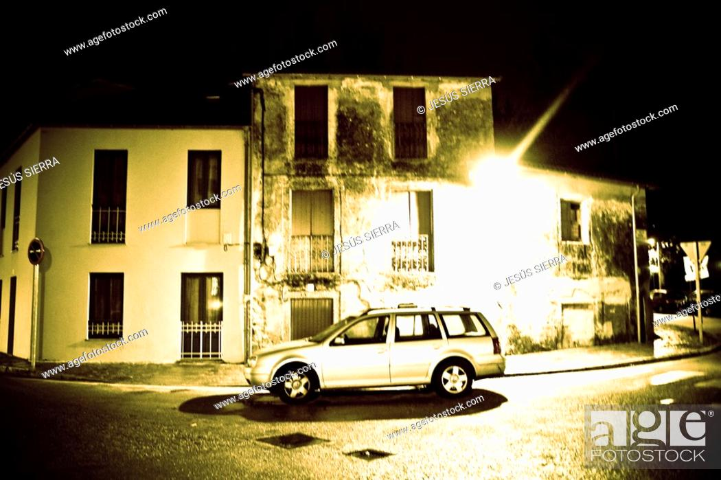 Stock Photo: Night in Santiago de Compostela, Galicia, Spain.