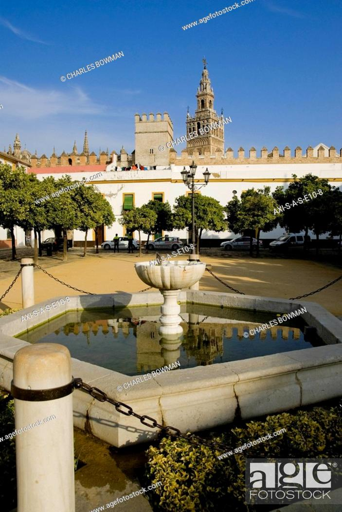 Patio De Las Banderas And Cathedral Stock Photo Picture And Rights