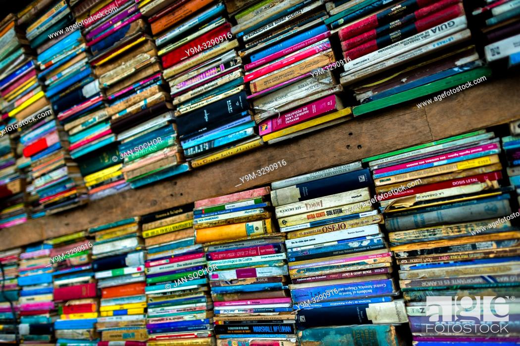 Stock Photo: Spines of used books are seen stacked in a secondhand bookshop in San Salvador, El Salvador, 12 April 2018. Large collections of worn-out books.