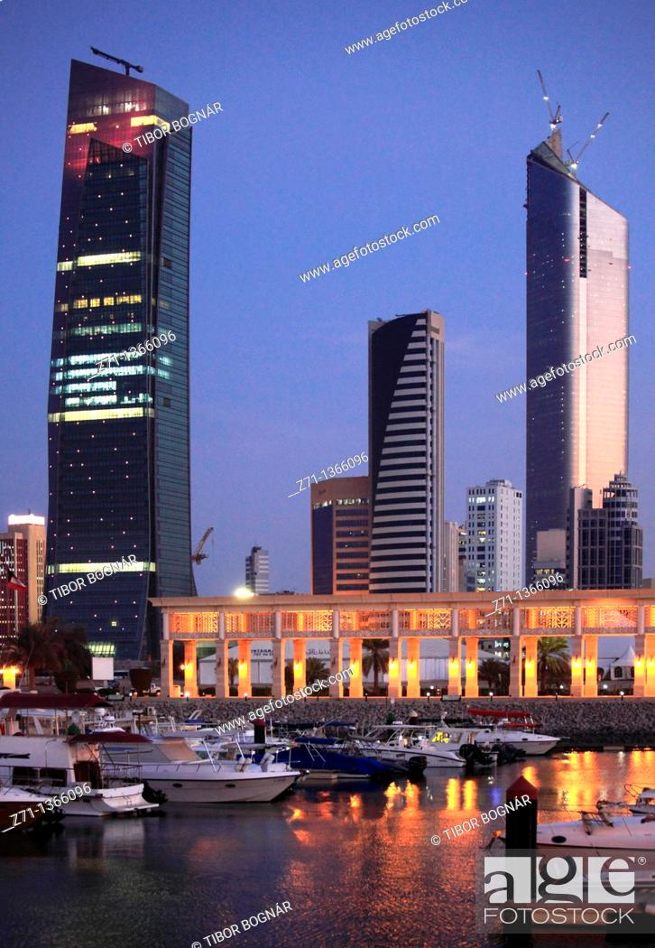 Stock Photo: Kuwait, Kuwait City, skyline, skyscrapers, Souk Sharq Marina,.
