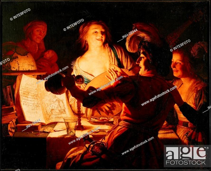 Stock Photo: fine arts, Honthorst, Gerrit van, 1590 - 1656, painting, prodigal son, 1623, oil on canvas, 125 cm x 157 cm, Schleissheim castle, Munich, historic, historical.