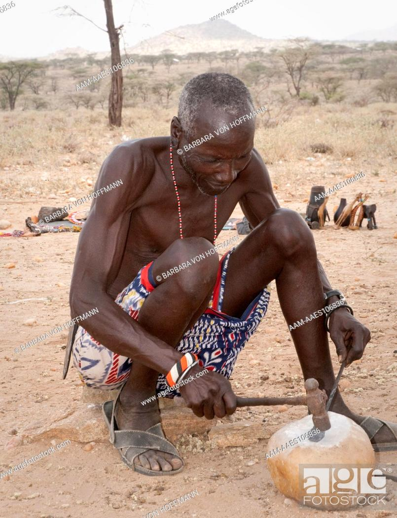 Stock Photo: Samburu blacksmith, Samburu National Reserve, Kenya.