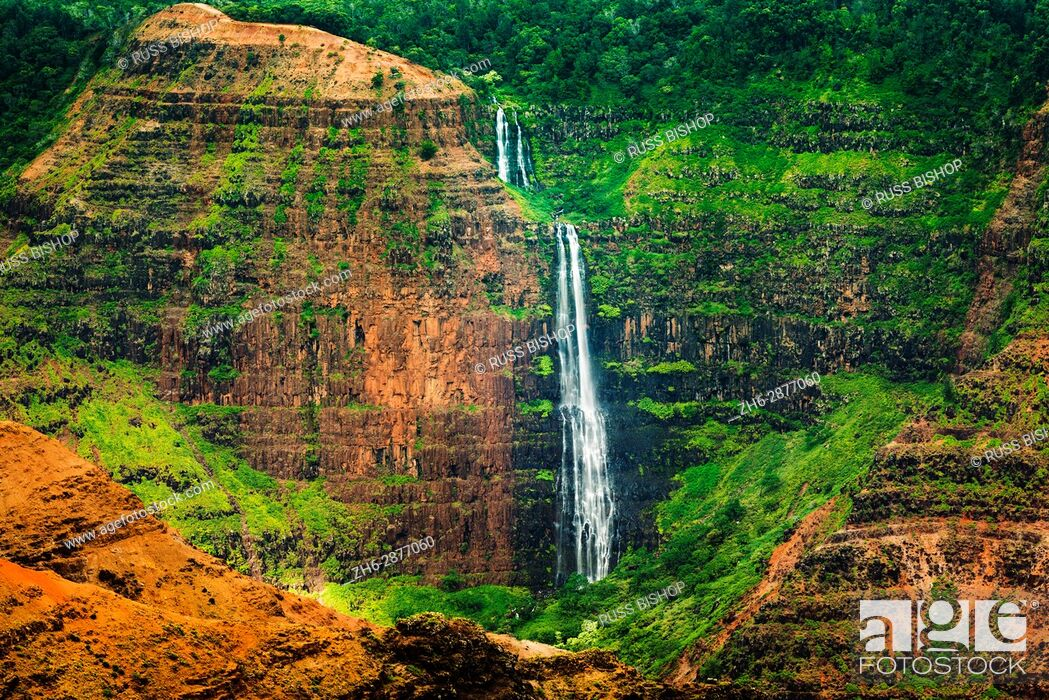 Stock Photo: Waipo'o Falls, Waimea Canyon State Park, Kauai, Hawaii USA.