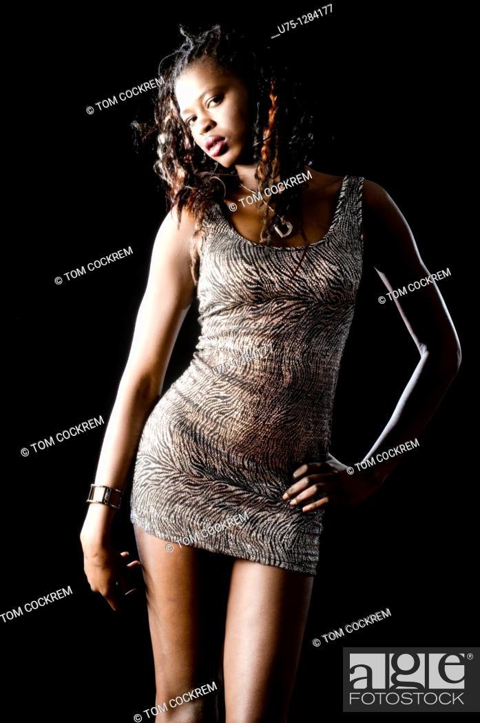 Stock Photo: Black African fashion model.