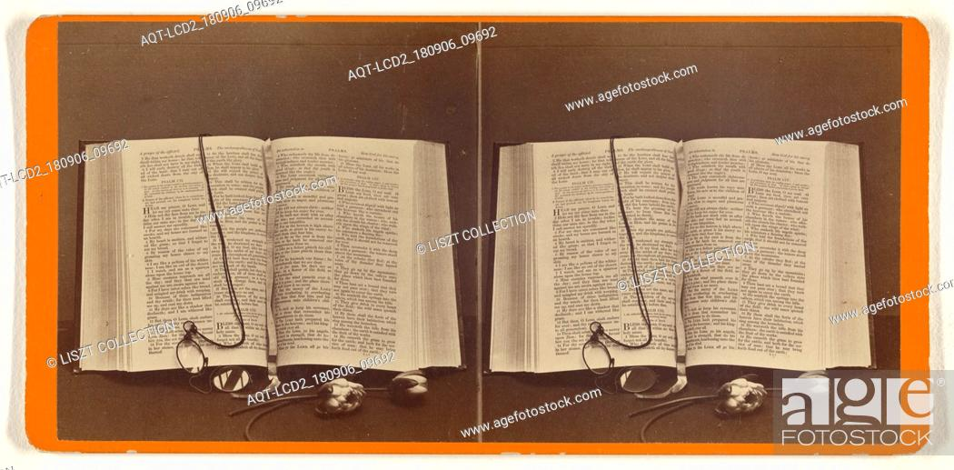 Stock Photo: Bible opened to the Chapter of Psalms; John P. Soule (American, 1827 - 1904); about 1870; Albumen silver print.