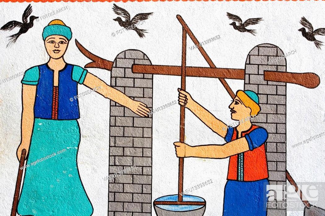 Stock Photo: Close-Up, Bird, Bucket, Brick Wall, Brick, Avian.