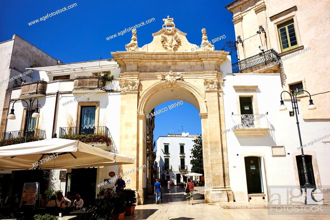 Stock Photo: The gate to the historical quarter of Martina Franca. Martina Franca is a municipality in the province of Taranto, Apulia (Puglia), Italy.