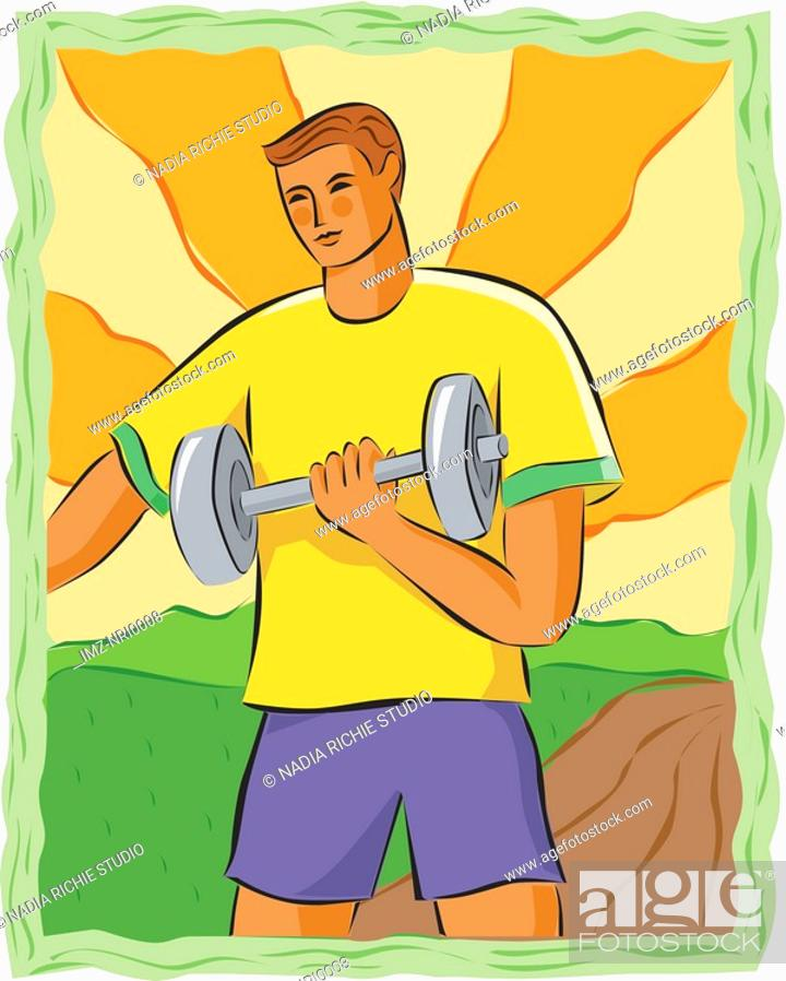 Stock Photo: Drawing of a man lifting weights.