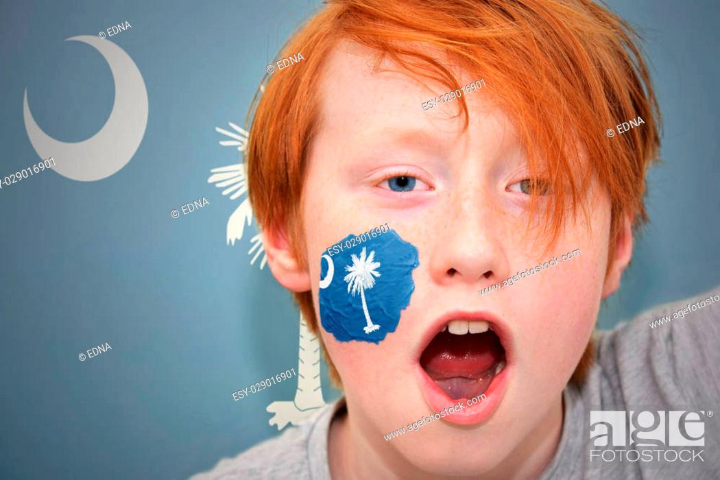 Imagen: redhead fan boy with south carolina state flag painted on his face. on the south carolina state flag background.