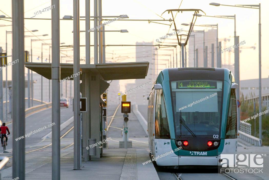 Stock Photo: Tramway. Sant Adrià del Besòs. Barcelona. Spain.